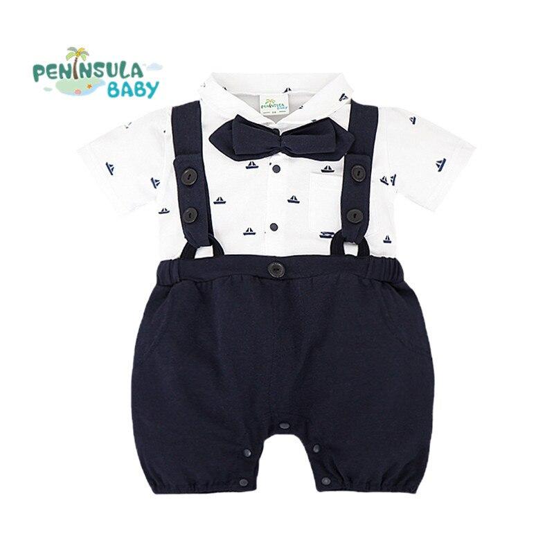 Nowe letnie pajacyki dla niemowląt Chłopcy ubrania kraciaste - Odzież dla niemowląt - Zdjęcie 1