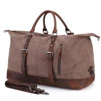 YUPINXUAN 2 Size Oversized Wearproof Canvas Leather Travel Duffle Bags Large Weekend Bag Big Travel Handbags Folding Trip Bags