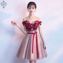 Ameision Formal Dress Women Elegant Special  Dresses Red Rose Appliques Evening Short 2019