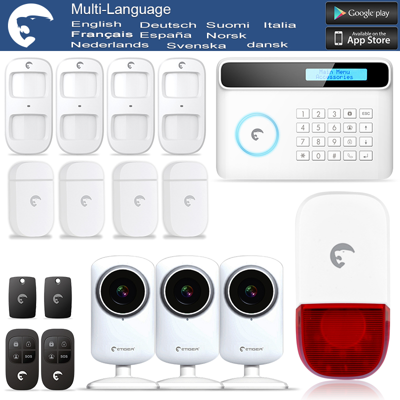 Etiger  HD Network Camera eTiger S4 Burglar Alarm GSM SMS Security System for Home/Office etiger gsm pstn intruder alarm system for home office wifi network camera ir beam detector 100m