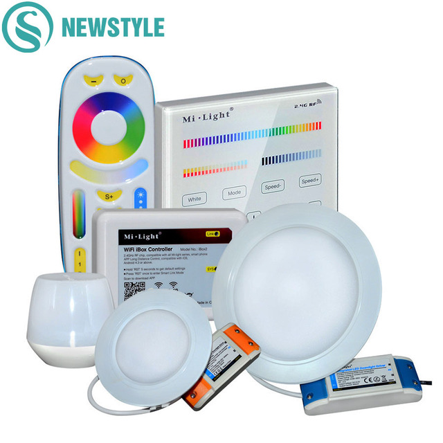 newstyle Milight 6W 12W LED Downlight Panel Dimmable RGB CCT AC85-265V Round