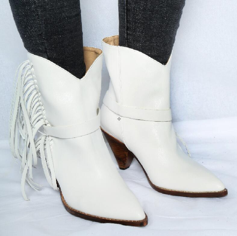 Hot Fashion Sexy Winter/Autumn White Sheepskin Mid-Calf Shoes Slip-On Pointed Toe Womens Shoe Spike Heels Fringe Ladies BootsHot Fashion Sexy Winter/Autumn White Sheepskin Mid-Calf Shoes Slip-On Pointed Toe Womens Shoe Spike Heels Fringe Ladies Boots