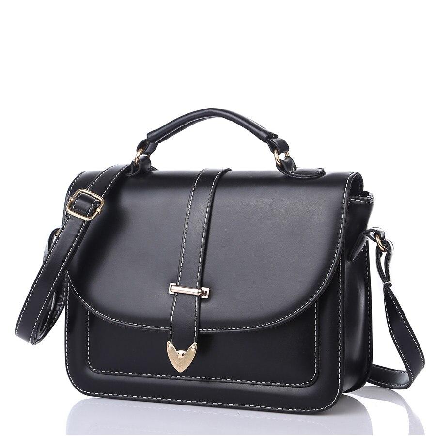 Burnished Leather Messenger Bag Women PU Ladylike Shoulder Bag Trendy Belt Ornament font b Handbag b