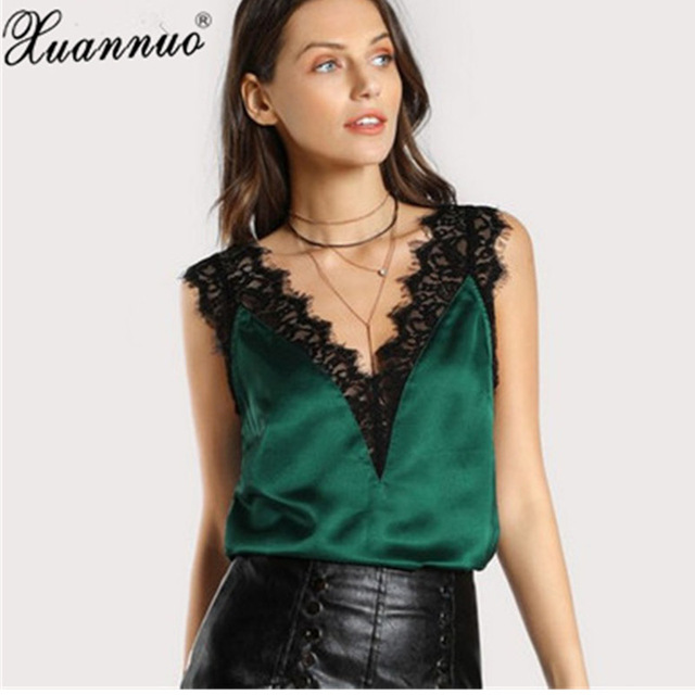 f1692f95eb6c1 XuanNuo Lace Trim V Neck Satin Silk Top for Women Fitness Tank Top Green  Elegant Workwear Women s Sleeveless Top Silk Shirt 2018