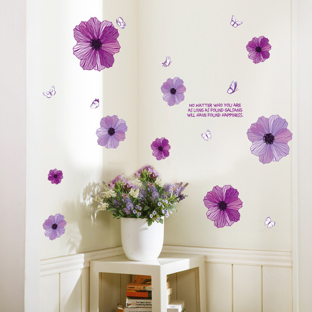 Purple Flowers Background Wall Decoration Stranger Things Removable 60*90cm Wall Stickers PVC Wallpaper for