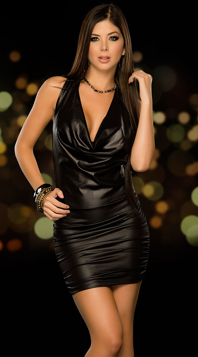Stylish elegant dress sexy sling deep V-neck halter dress glossy patent leather mini dress noble and generous charming dress