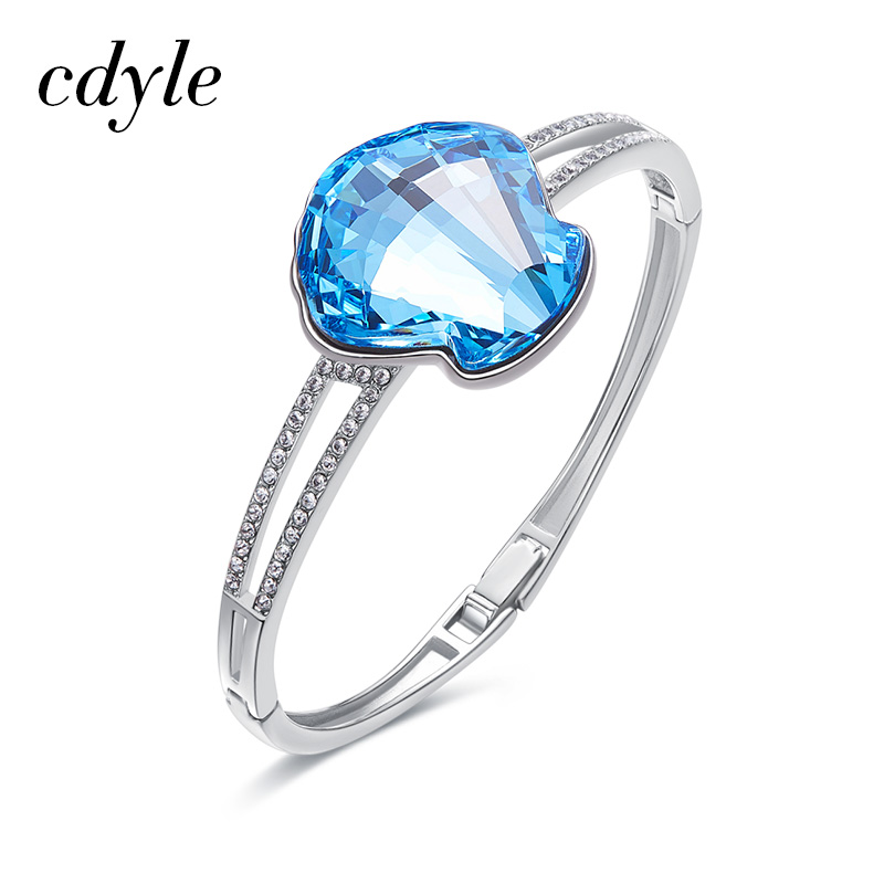 Cdyle Bracelets & Bangles For Women Austrian Rhinestone S925 Sterling Silver Fashion Jewelry Blue Crystal Charm Bracelets Chic a suit of cute rhinestone elephants alloy bracelets for women