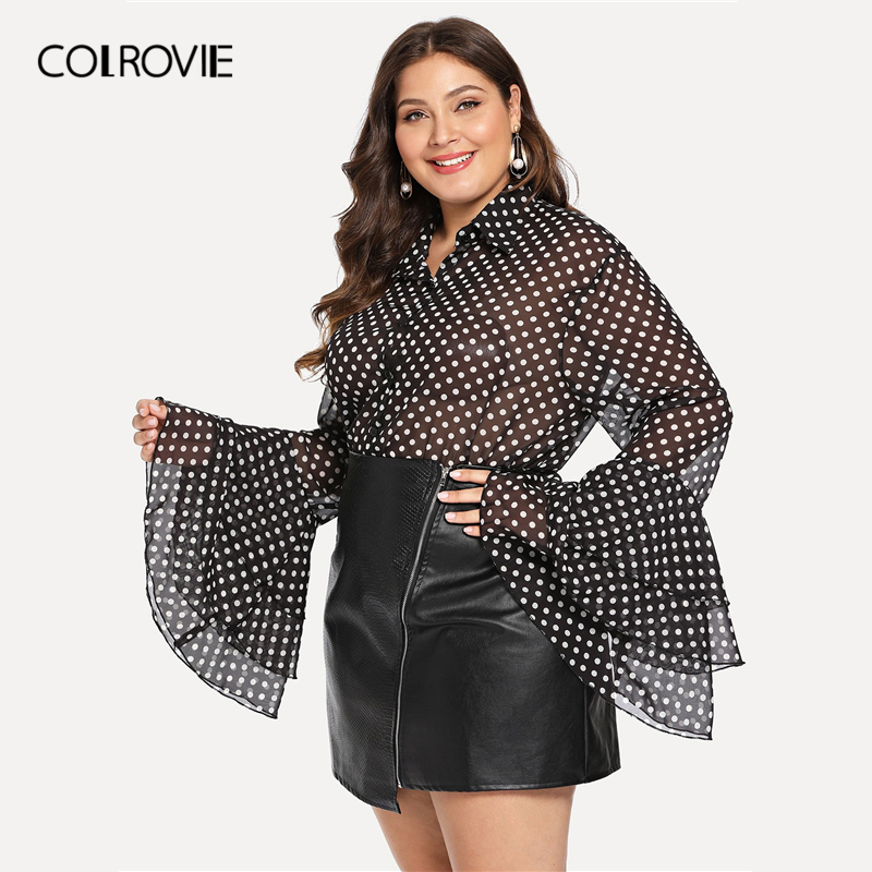 COLROVIE Plus Size Button Layered Sleeve Polka Dot Collar Office   Blouse     Shirt   2019 Spring Elegant Woman   Shirts   Casual   Blouses