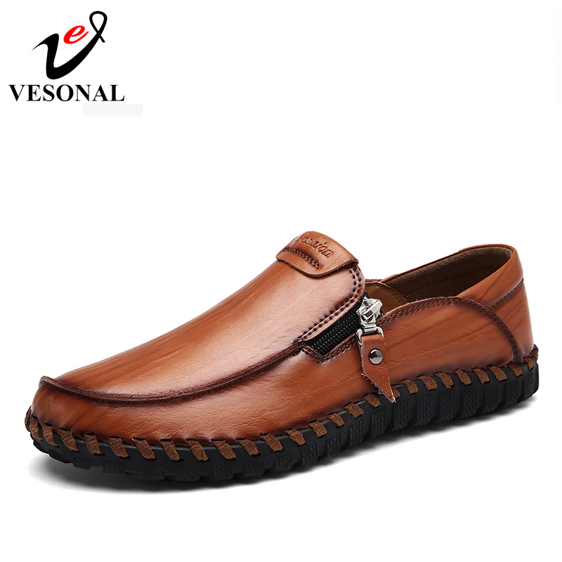 VESONAL 2017 Brand Handcraft Casual Footwear Men Shoes Adult Male Loafers Leather Autumn Driver Walking Zipper Ons Breathable vesonal 2017 quality mocassin male brand genuine leather casual shoes men loafers breathable ons soft walking boat man footwear