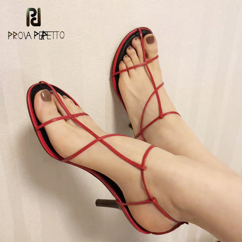 Prova Perfetto Red Newest Gladiator Sandals Woman Open Toe Narrow Band Cross-tied High Heel Shoes Woman Sexy Hollow Party Shoes