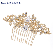 Vintage Gold Bridal Hair Comb Hairpins Rhinestone Crystal Drop Zircon Flower for Women Wedding Accessories Wholesale CO4012R