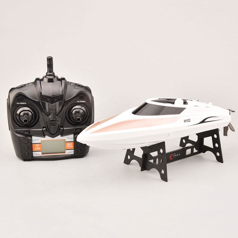 все цены на 30KM/H High Speed remote control rc Boat H102 2.4GHz 4ch RC Speedboat Racing Boat electronic boat child best gift toy vs WL915