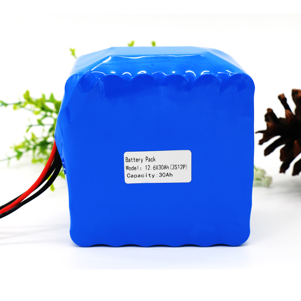 KLUOSI 12V 30Ah 3S12P 11.1V 12.6V High-power Lithium Battery Pack For Inverter Xenon Lamp Solar Street Light Sightseeing Car Etc
