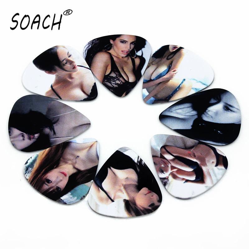 SOACH 10pcs 0.71mm Sexy Girl Quality Two Side Earrings Pick DIY Design Guitar Accessories Pick Guitar Picks