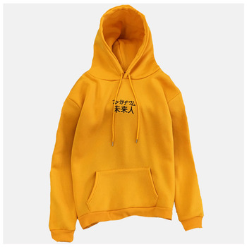 Chinese Lettering Hoodie Yellow Sweatshirt Poleron Mujer 2019 Women Chinese Letter Embroidered Hoodie Kangaroo Pocket Hoodie 2xl ombre topstitched pocket design hoodie