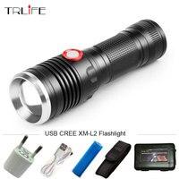 Güçlü 8000LM USB CREE XM-L2 LED Taktik Fener Fener Alüminyum Torch Flaş Işığı Kamp Lamba ile Akıllı Güç Hatırlatma