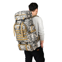 80L Waterproof Molle Camo Tactical Backpack Military Army Hiking Camping Backpack Travel Rucksack Outdoor Sports Climbing Bag