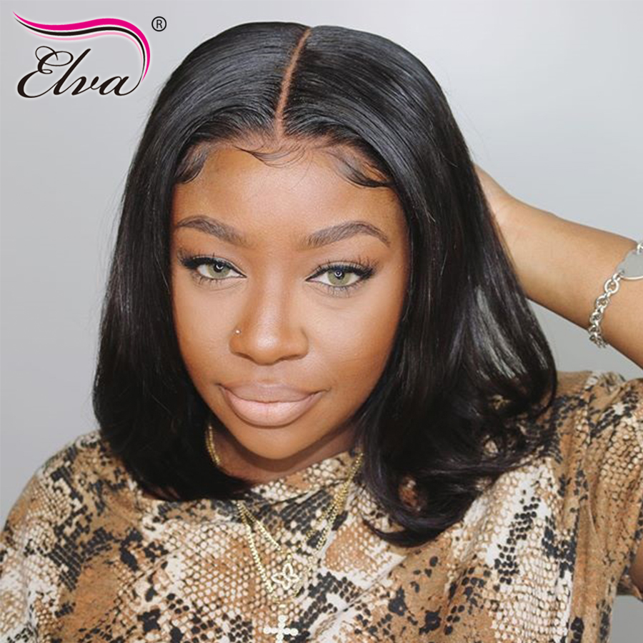 Brazilian Full Lace Wig Short Human Hair Wigs For Black Women Remy Hair Straight Bob Wig Pre Plucked With Baby Hair Elva 8