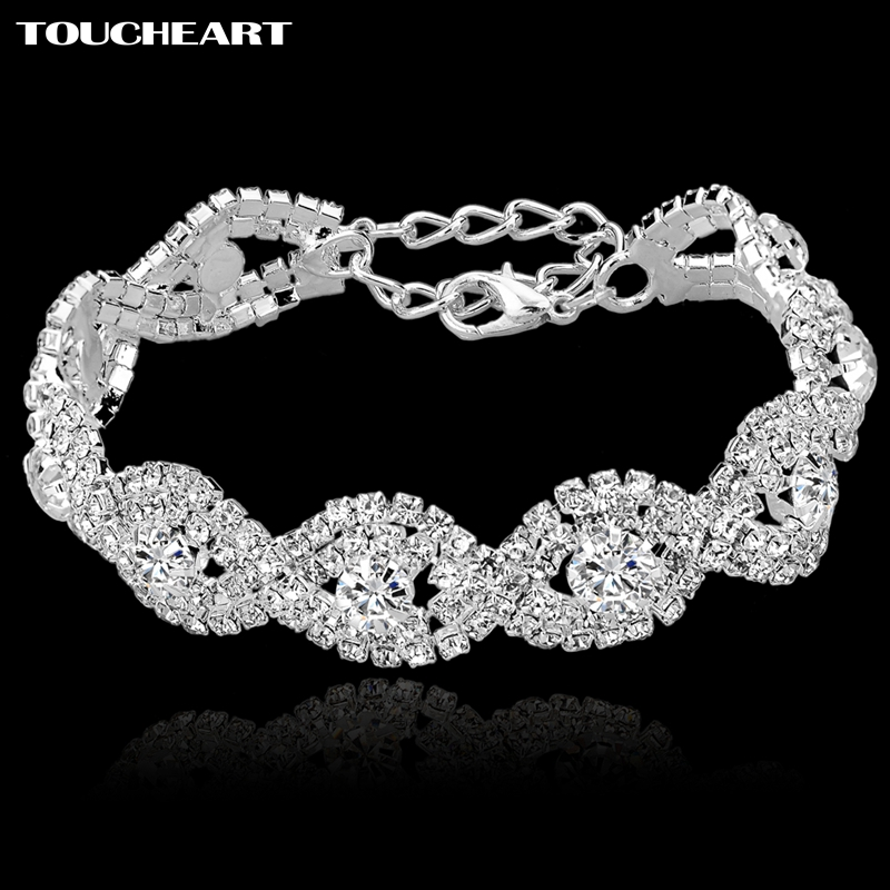 TOUCHEART Crystal Bracelets For Women Femme Silver color Charm Bracelets & Bangles Wedding Jewelry With Stone Bracelet SBR140169