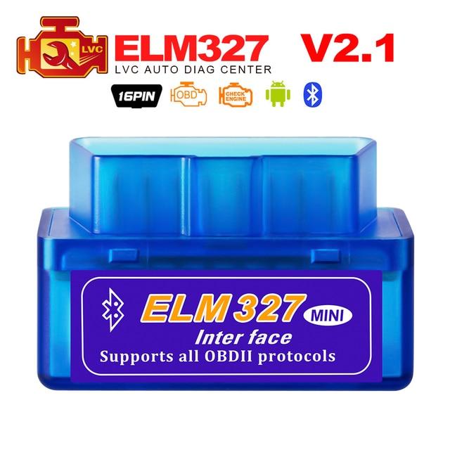 מיני ELM327 Bluetooth 2.0 ממשק V2.1 OBD2 OBDII סורק אוטומטי אבחון-כלי ELM 327 עבור אנדרואיד מומנט/PC OBD 2 מתאם