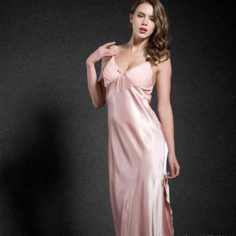 ... CEARPION Camel Long Nightdress Rayon Nightwear Sexy Lace Suspender  Nighty Sleepwear Women s Home Dressing Gown Split e1211e046f8f