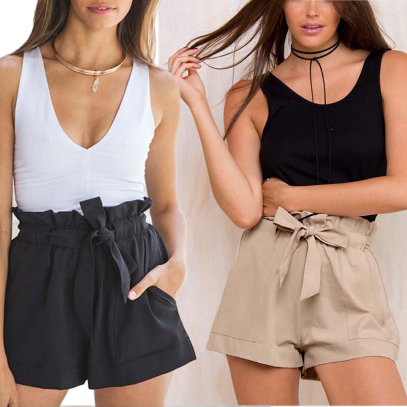 Women Casual Plus Size Shorts High Waist Loose Shorts Patchwork Able Bow Short Pant Female Ruffle With Belt