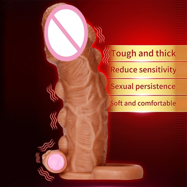 Dildo Extender Penis Enlargement Reusable Condoms Silicone Big Dotted Penis Sleeve  Cock Ring With Solid Glans Delay Ejaculation 3