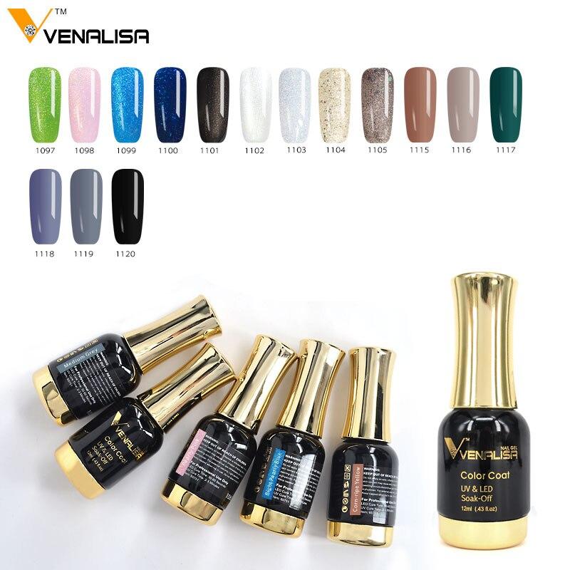 12 ml VENALISA Glitter Farbe Gel Tränken Weg UV/LED Gel Bling Diamant Nagel Gel Primer Keine Säure top Mantel Beste Gel Nagellack