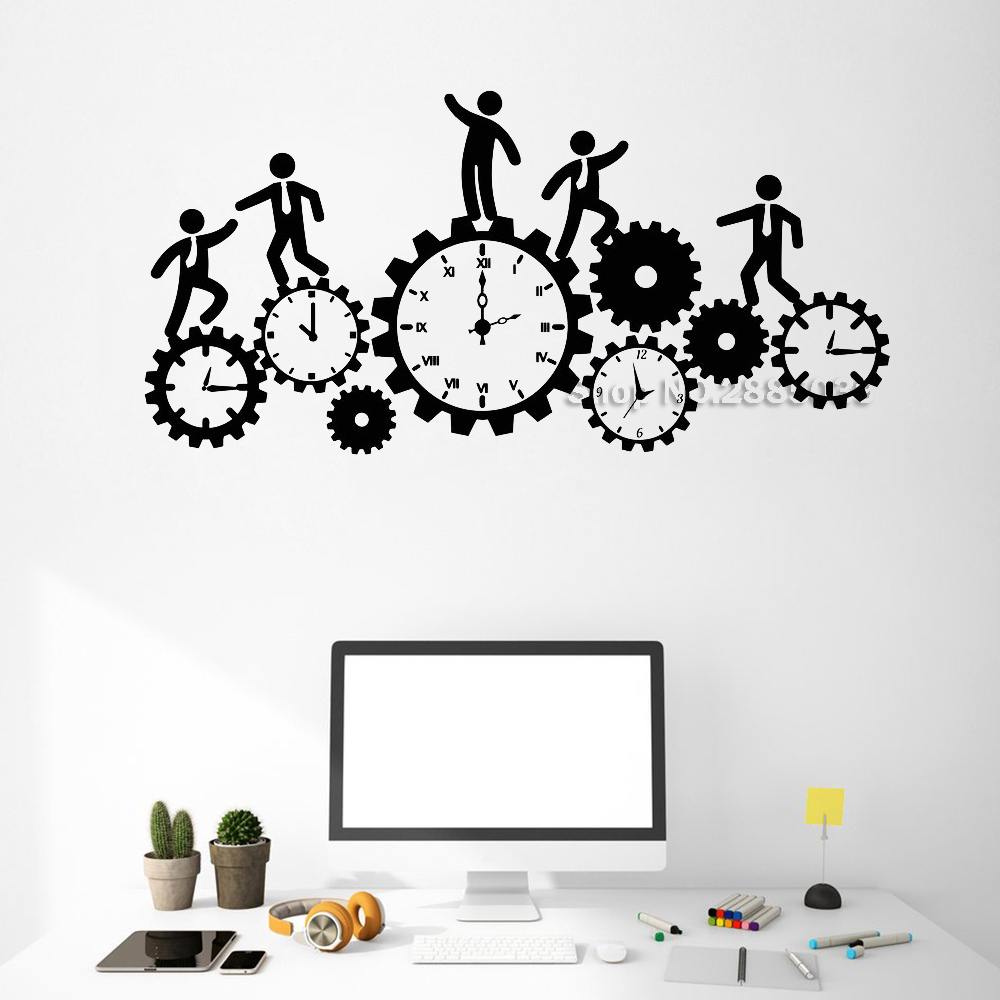 New Design Teamwork Gears Clock Wall Decals Vinyl Business Gear Office Interior Decor Art Removable Wall Stickers Unique LC525