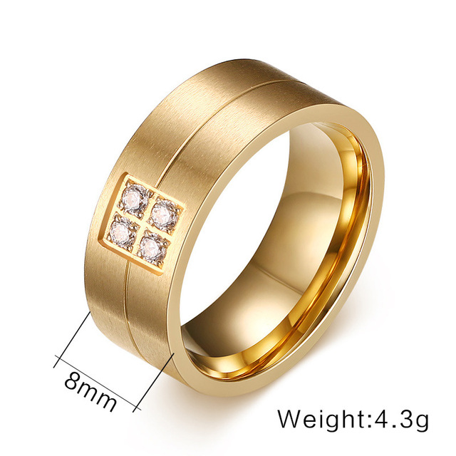 2017 new fashion Shinny CNC cubic zirconia stainless steel 18kgp