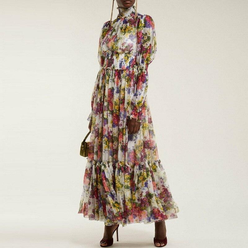 Haute qualité designer marque piste femmes robes fleurs imprimer col roulé élastique taille partie longue robe femme soie robe S126