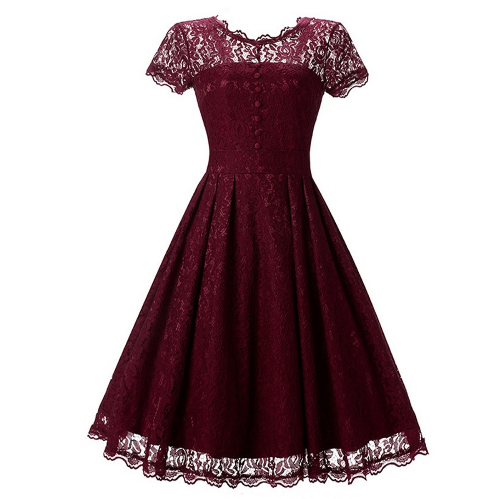 Women <font><b>Vintage</b></font> <font><b>Dresses</b></font> <font><b>1950s</b></font> <font><b>60s</b></font> Summer Woman Robe Retro O Neck Casual Tunic Pin up Rockabilly elegant Lace Swing Party <font><b>Dress</b></font> image