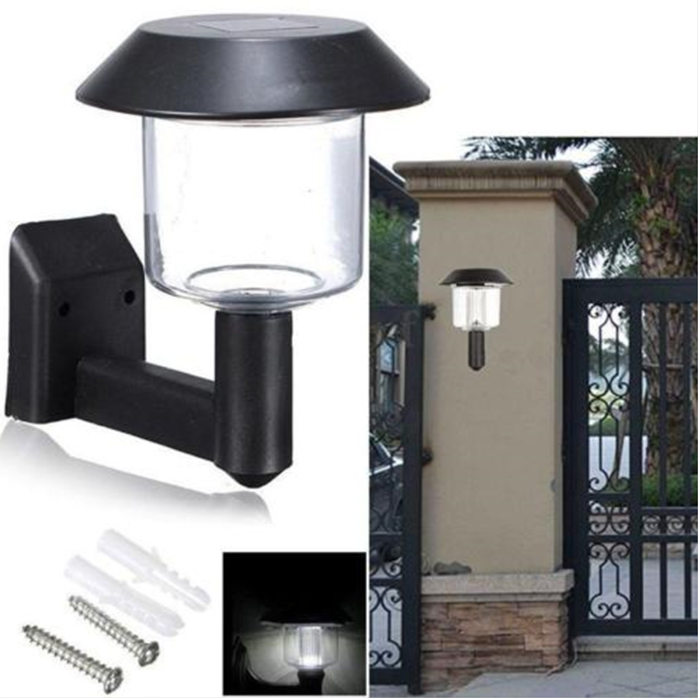 New Outdoor Solar Power LED Wall Light Auto Sensor Garden Yard Landscape Fence Walkway Fence Lamp