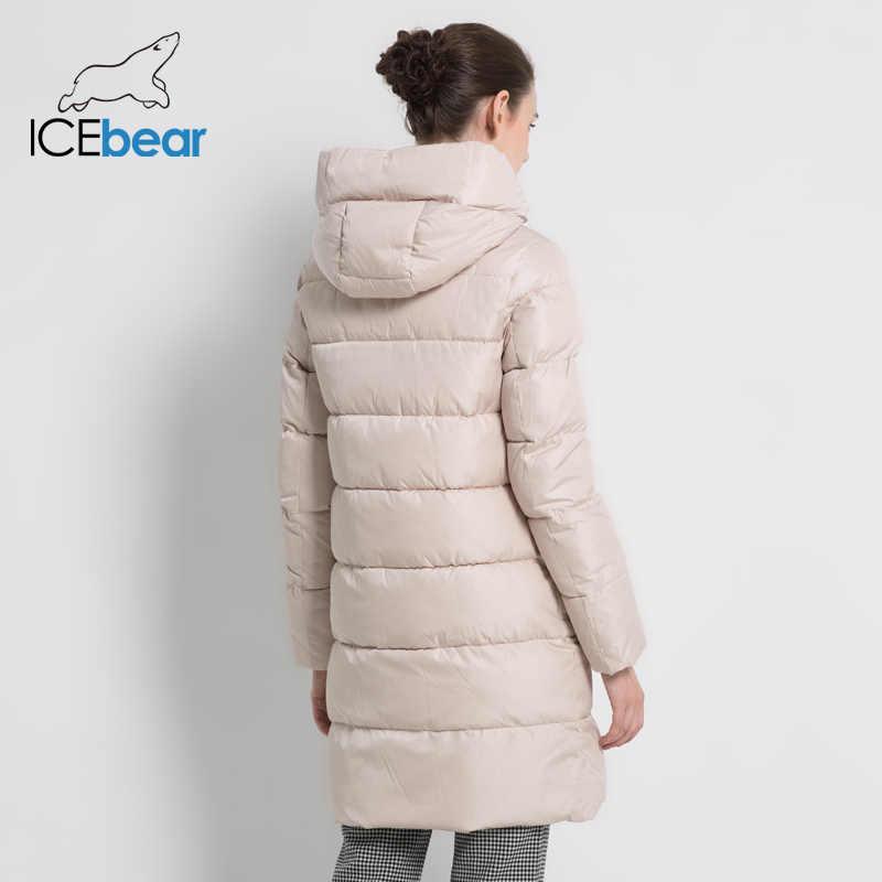 ICEbear 2019 Новая зимняя женская куртка Модная  высококачественная женская зимняя куртка с капюшоном Женское пальто длинные женщины хлопок мода женщина бренд одежды GWD18213I