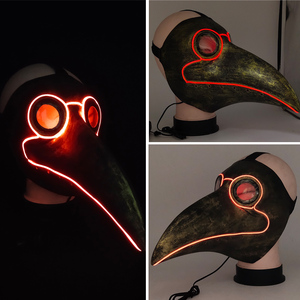 Image 3 - Retro Steampunk Plague Bird Doctor Cosplay Mask Latex LED Funny Event Holiday Halloween Party Costume Props