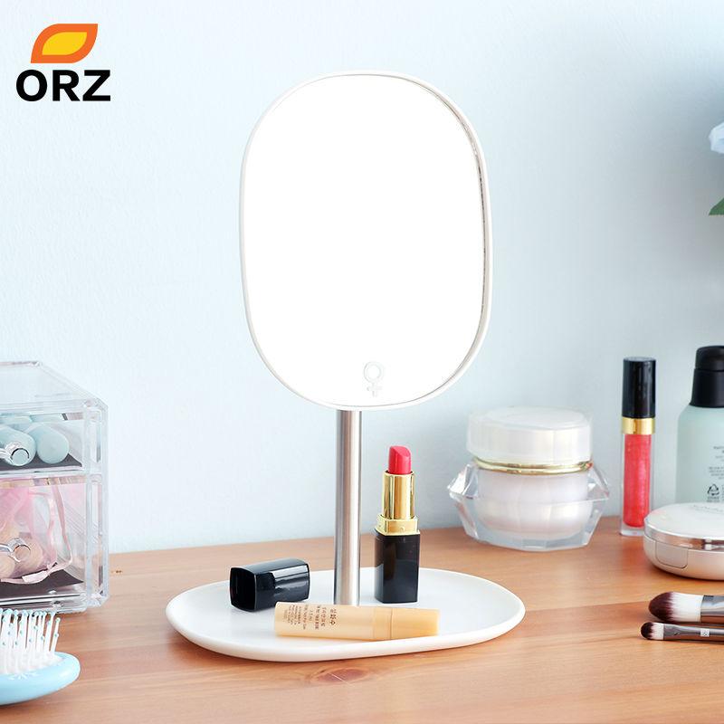 ORZ 360 Free Rotating Makeup Mirror Plastic Bathroom Accessories Desktop Organizer Decoration Standing Cosmetic Dresser Mirror