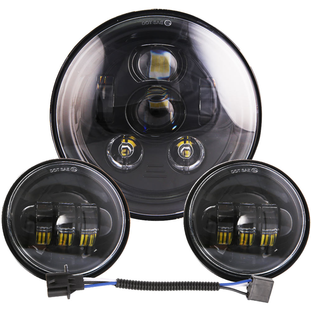 DOT 7 inch LED Headlight Kit Fog Passing Light for Harley Ultra Classic Electra Street Glide Tri Cvo Road King