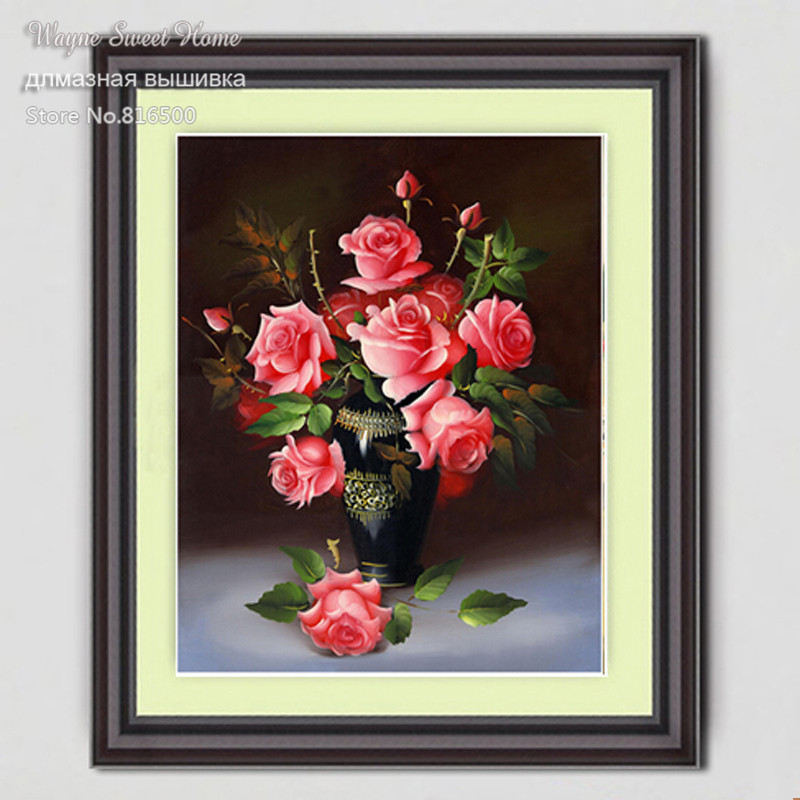 2018 Direct Selling New Diy 3d Diamond Painting Beautiful 5d Full Flowers Rose Resin Crafts Decoration Mosaic Embroidery Scroll