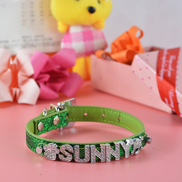 Brand Global Baby Bright Pu Leather Personalized Free 10MM Letters and Charms Named Pet Collar Necklace Dog Cat Collar