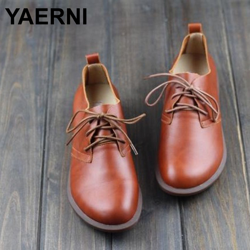 YAERNI  Women Flat Shoes Genuine Leather Lace up Ladies Shoes Women's Moccasins Female Spring/Autumn Footwear women shoes spring autumn genuine leather flat shoes round toe lace up flats ladies moccasins