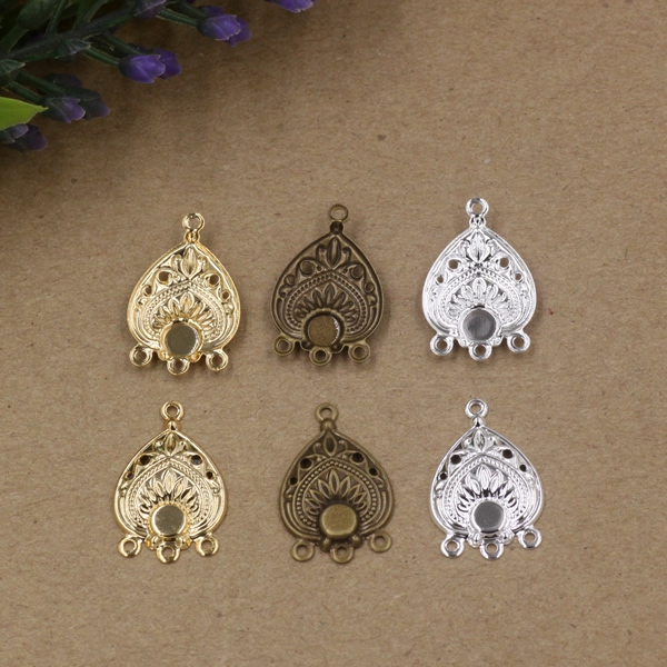 50pcs Vintage Filigree Jewerly Connector Gold/Silver Plated Metal Flowers Motif for DIY Retro Fashion Bracelet Necklace Finding