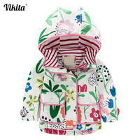 VIKITA Brand Baby Girls Jackets Girls Hooded Jackets Kids Flowers Cartoon Windbreaker Coats Outerwear Children Autumn Clothes