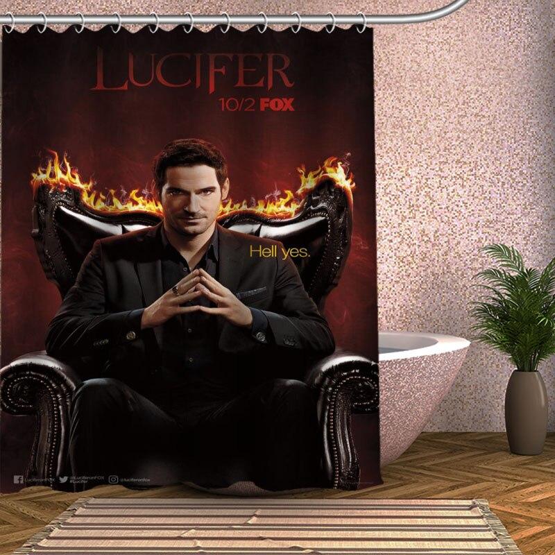 Lucifer Season 1: Lucifer Season 1 Shower Curtain Eco Friendly Modern Fabric