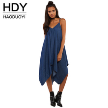 HDY Haoduoyi Сплошной Цвет Платья Женщин Спинки С Плеча Свободные Midi Dress Street Casual Холтер Denim Dress Vestidos