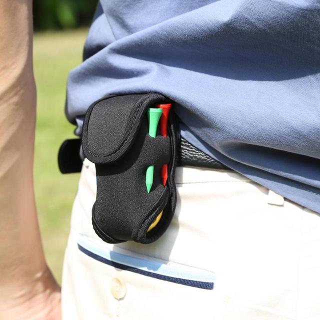 Mini Portable Golf Ball Holder Bag Sbr Soft Elastic Waist Pack Waterproof With 2