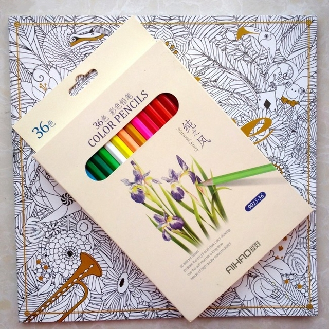 96 Pages Alice In Wonderland Coloring Book 36 Pencil For Adult Children Antistress Secret Garden