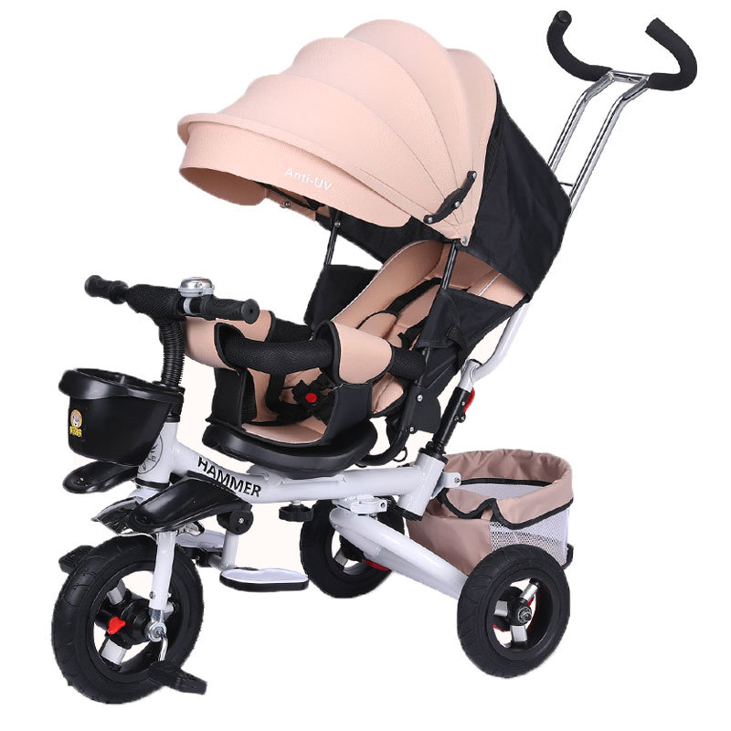 Quick Folding Child Tricycle Bicycle Swivel Seat Baby Tricycle Stroller Three Wheels Convertible Push Handle Reclining Baby Car