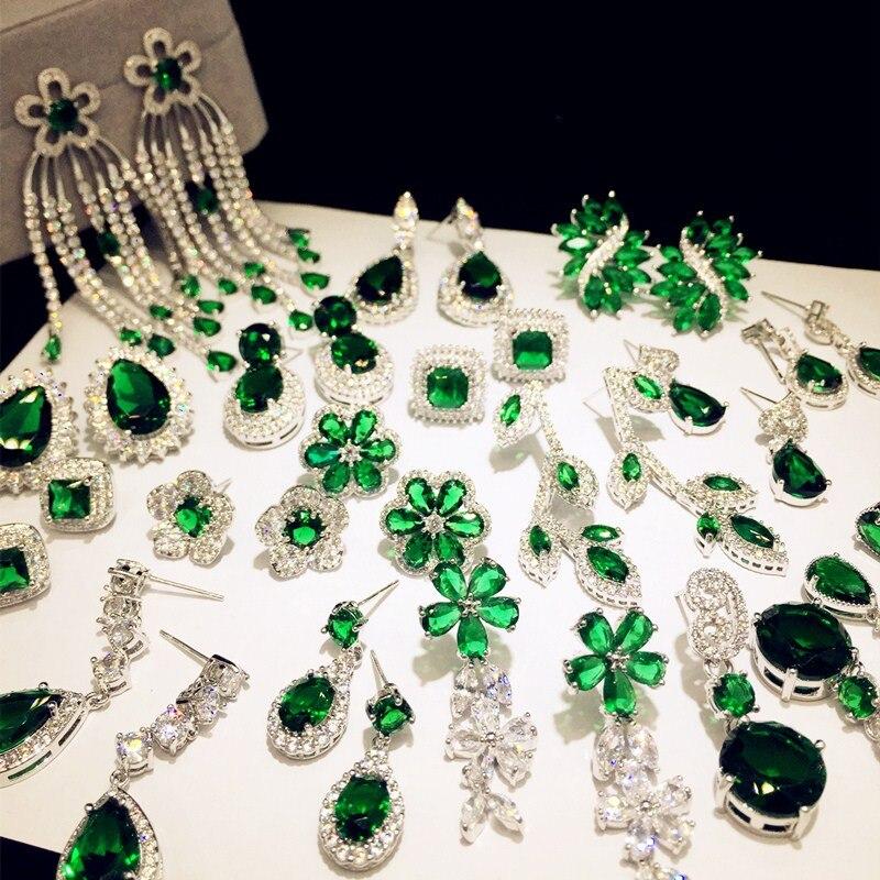 Retro 925 Silver Emerald Handmade Hook Asymmetry Dangle Earrings Women Jewelry