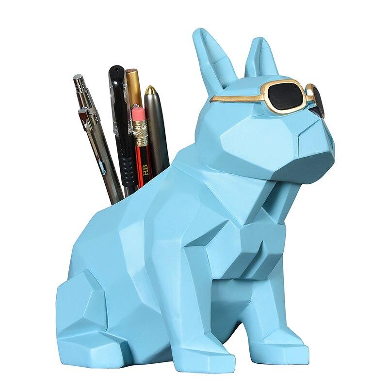 Bouledogue français Vase à crayons Figurine chien Animal porte-stylo Statues Art Sculpture résine artisanat maison bureau décoration bureau R520