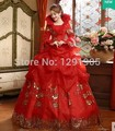 beading lace red luxury rhinestone medieval dress sissi princess Medieval Renaissance Gown queen costume Victorian Belle ball